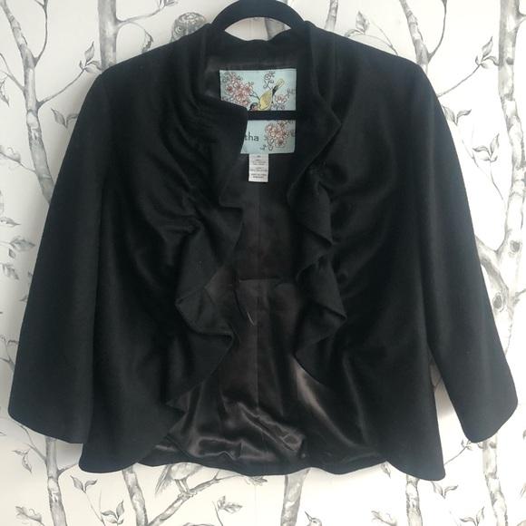 Anthropologie Tabitha Short Sweet Black Blazer 10